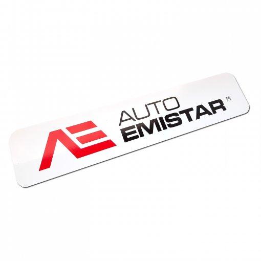Reklamní tabulka s logem místo SPZ Auto Emistar