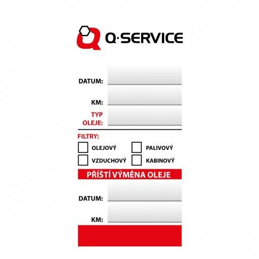 Štítek výměna oleje - servisní kontrola Q-service